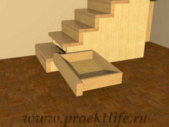 Лестница на второй этаж с ящиками