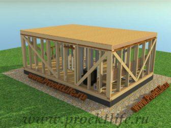 Каркасная баня с двускатной крышей-перекрытие осб потолок