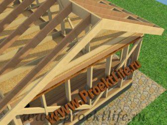 Каркасная баня с двускатной крышей-кровля