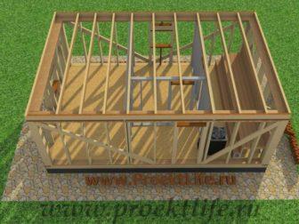 Каркасная баня с двускатной крышей-перекрытие