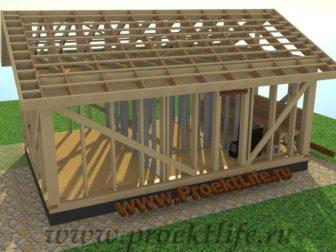 Каркасная баня с двускатной крышей