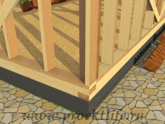 Каркасная баня с двускатной крышей-стена-стойка