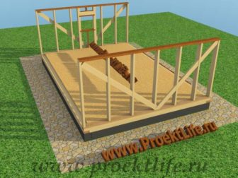 Каркасная баня с двускатной крышей-стены