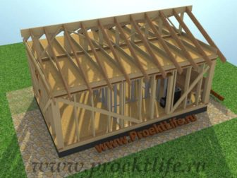 Каркасная баня с двускатной крышей-стропила