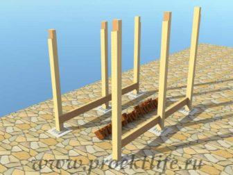 Как построить дровник своими руками