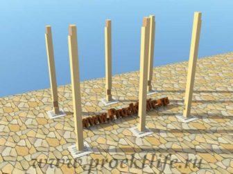 Дровник-столбы, стойки, опорный столб