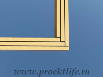 Нижняя обвязка Угол обвязки из трёх досок