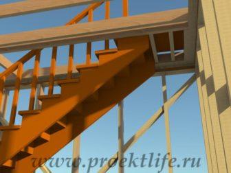 двухэтажный каркасный гараж-крепление лестницы