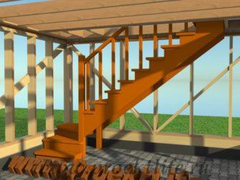 двухэтажный каркасный гараж-лестница