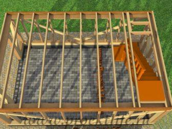 двухэтажный каркасный гараж-перекрытие второго этажа