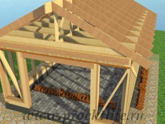 Каркасный гараж, гараж по каркасной технологии, гараж - Гараж по каркасной технологии своими руками -  стропила 336x252