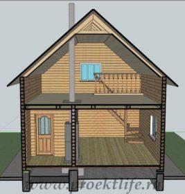 Двухэтажный гараж, баня, комната отдыха из бруса в разрезе