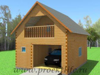 Двухэтажный гараж-из-бруса