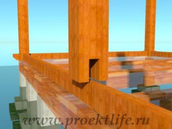 деревянный дачный домик крепление промежуточных столбов