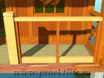 деревянный дачный домик перила на крыльце