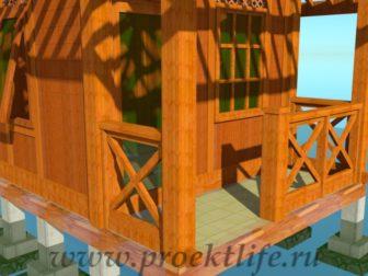деревянный дачный домик-веранда