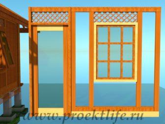 деревянный дачный домик-окна и двери