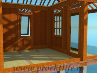 деревянный дачный домик-стены