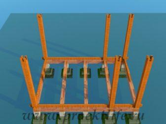 деревянный дачный домик столбы