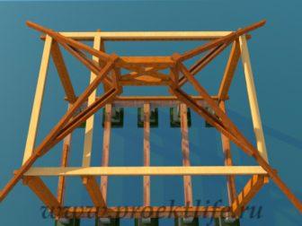 деревянный дачный домик-стропильная-система