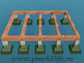 деревянный дачный домик-фундамент