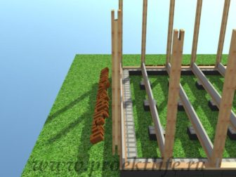 технология строительства каркасного дома столбы
