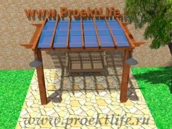 Навес с крышей из поликарбоната вид спереди