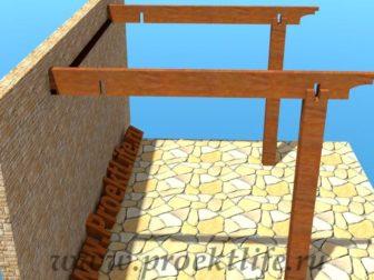 Навес с крышей из поликарбоната стропила