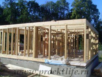 фотоотчёт, как построить каркасный дом, обвязка перекрытия