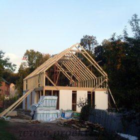 фото, как построить каркасный дом, стропильная система