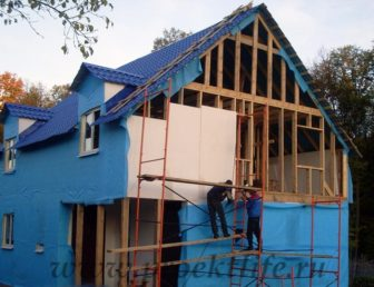 фото, как построить каркасный дом, утепление пенопластом