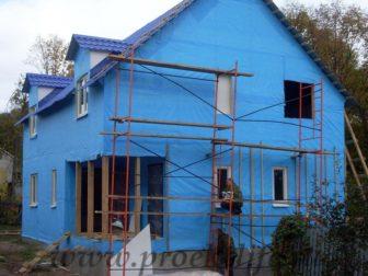 фото, как построить каркасный дом, ветрозащитная мембрана