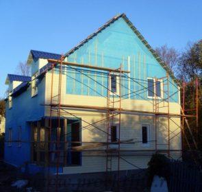 фото, как построить каркасный дом, обрешётка фасада