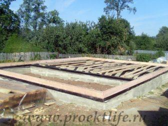 фотоотчёт, как построить каркасный дом, нижняя обвязка