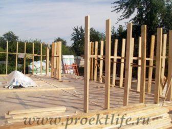 фотоотчёт, как построить каркасный дом, стойки стен