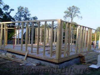 фотоотчёт, как построить каркасный дом, каркасные стены первого этажа