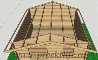 Баня 4х4 - Баня 4х4 из мини бруса - фото проект -  мини брус стропила 2 336x205