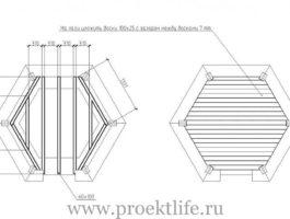 шестиугольная беседка чертежи