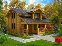 """Двухэтажный дом с верандой из бруса 12×8 """"Эдельвейс"""""""