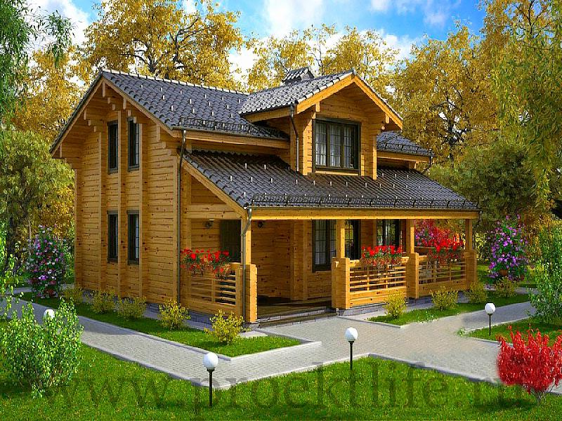 Двухэтажный дом из бруса с верандой