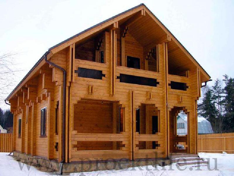 Двухэтажный дом из двойного бруса Голден