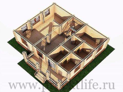 Деревянный двухэтажный дом из двойного бруса Москва