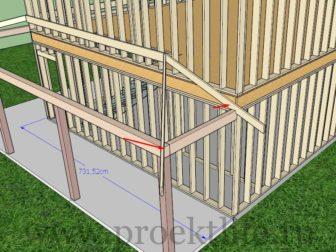 Угловой навес для дома - чертежи