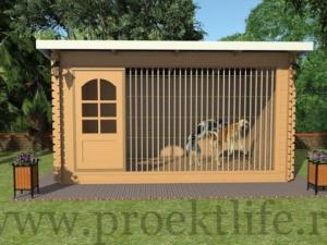 Вольер для собаки с односкатной крышей