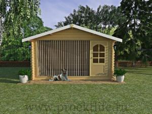 Вольер для собаки 4x3 m c двускатной крышей