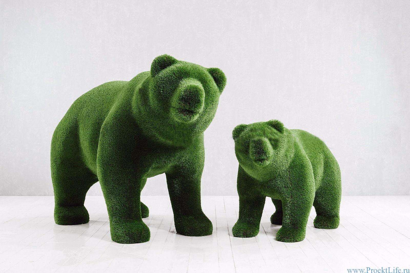 Садовая скульптура - Медведица и медвежонок