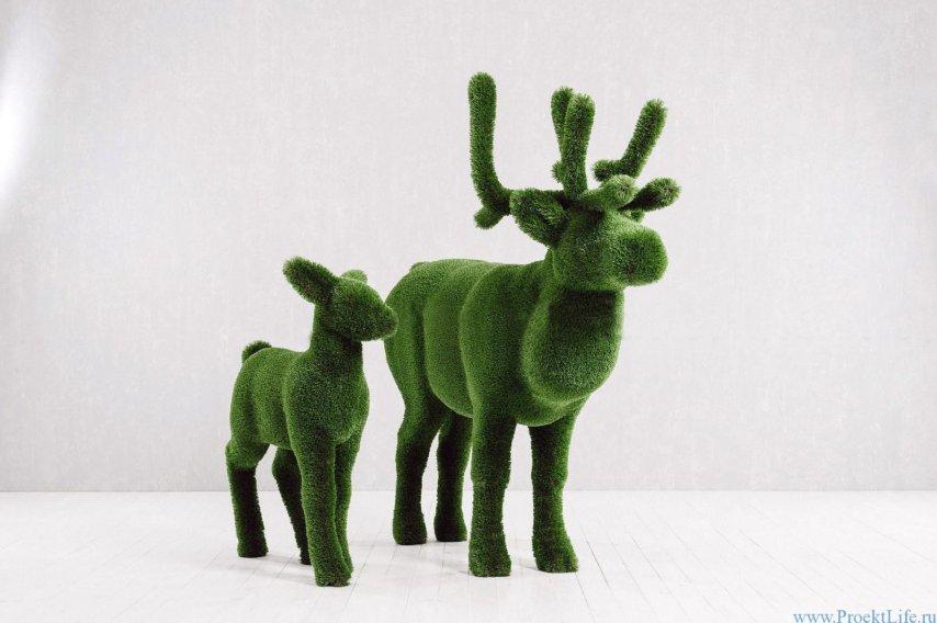 Садовая скульптура - Олень и оленёнок