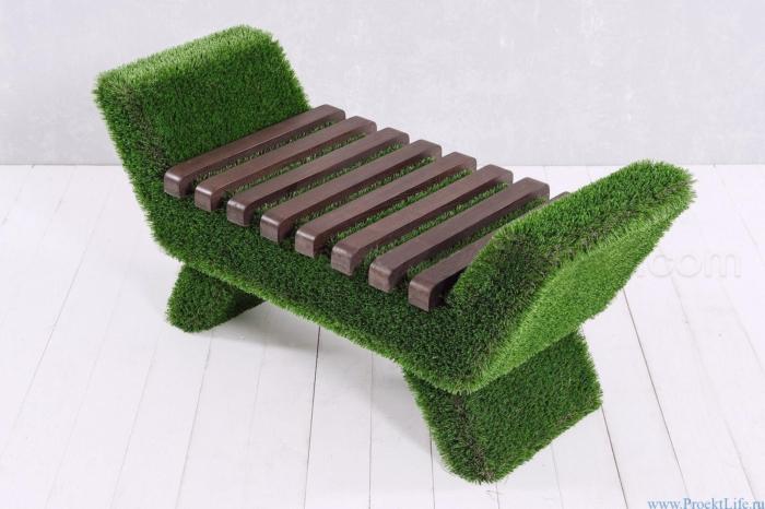 Мебель для сада - Лавочка Barocco тёмного цвета