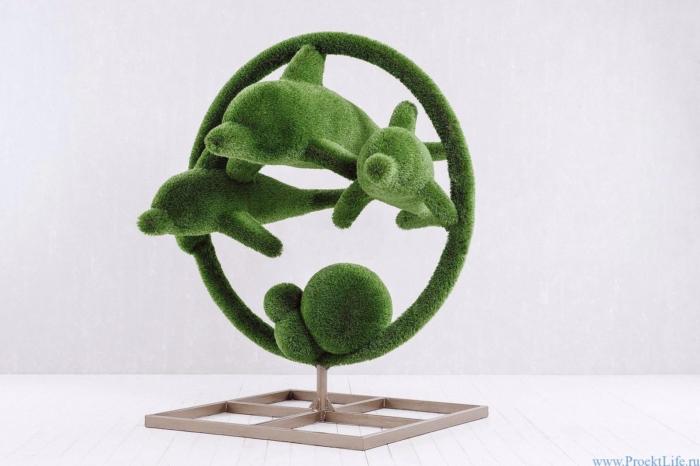 Садовая скульптура - Дельфины