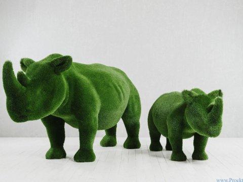 Садовая скульптура - Два носорога